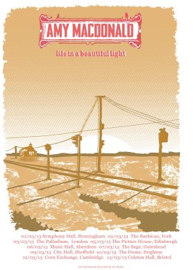 Amy MacDonald 'Life in a Beautiful Light' tour poster.